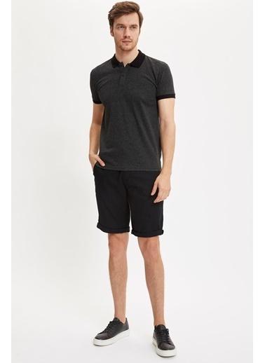 DeFacto Polo Yaka Slim Fit Jakarlı Tişört Siyah